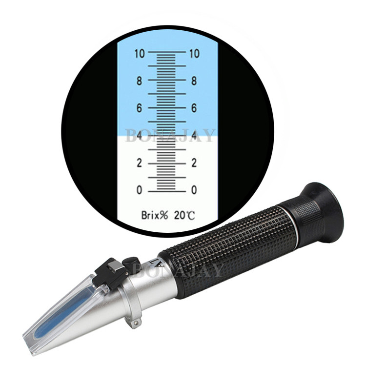 Portable Refractometer 0 - 10% Brix Hard Case Sugar Fruit Cutting Fluid with ATC