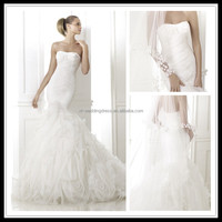 Strapless Flowers Mermaid Crimping Organza african wedding dresses FXL-300