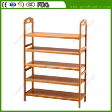 Factory Direct Supply Simple Design Bamboo 5-Tier 100 Pair Shoe Rack