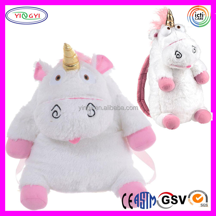D578 White Unicorn School Backpack Kids Soft Bags Plush Backpack Unicorn