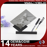 4x6 Creative plastic desktop acrylic photo picture frame with pen holder