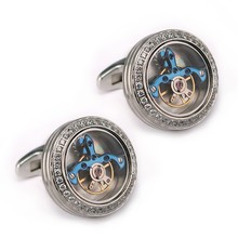 Make Custom Logo CNC Inlaid Stones Tourbillon Movement Cufflinks In Stainless Steel Jewelry