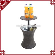 Multifunction Table Drinks Storage Rattan Wicker Ice Cooler
