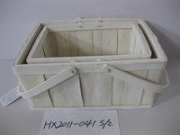 Wooden Chips Made Cheap Basket With Folding Handle