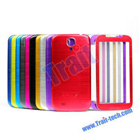 Brushed Metal Battery Cover Flip Case For Samsung Galaxy S4 Back Housing With Transparent Flip Cover