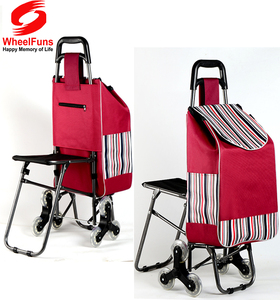 Easy go foldable shopping hand cart with chair go upstair cart trolley with seat