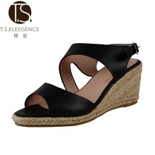 New Style Fancy Leather Upper Jute Sole Women Wedge Sandals Shoes