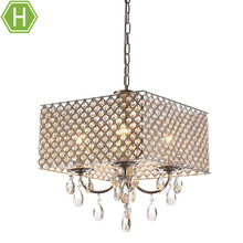 4 Incandescent Lights 60W Metal Fixture Modern Royal Crystal Square Chandelier Chrome lighting