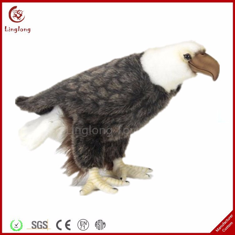 Oem Creative Simulation Flying Bird Bald Eagle Plush Filling Standing Eagle Toy Stuffed Grey Vivid Vulture