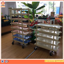 ABS plastic metal dolly cart with 4 wheels goods moving trolley for supermarkets