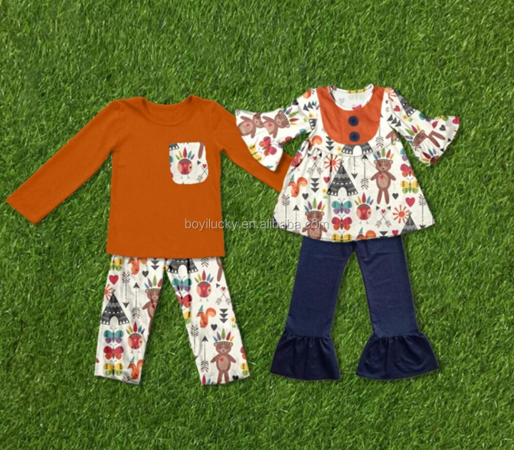 Fall Boutique children Bulk Wholesale Kids Clothing giggle moon Autumn Knit floral ruffle girl boy Baby Clothing set