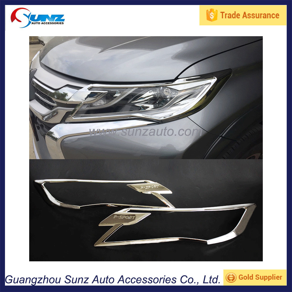 2016 new Headlight cover for mitsubishi pajero 2016 Headlmaps cover Chrome Accessories