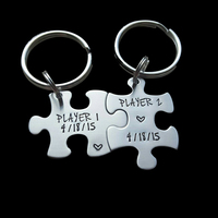 Customizable Player 1 Player 2 Puzzle Piece Key Chain Set Hand Stamped Couples Set His and Hers video game enthusiasts