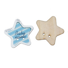"Wood Sewing Button Scrapbooking Star Natural Two Holes ""Baby Name"" Pattern 3.0cm x 2.9cm"