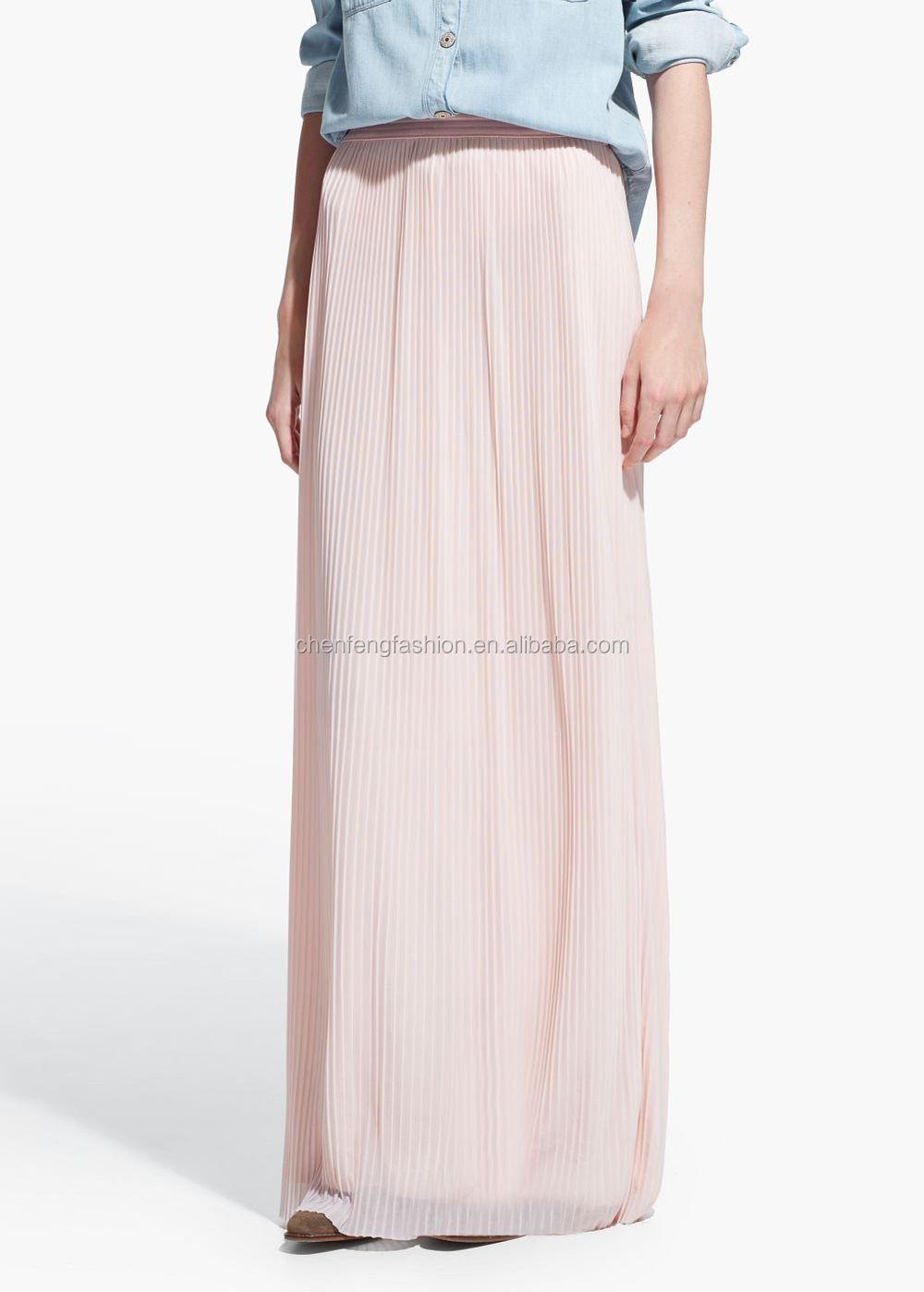 pleated elastic waist maxi skirts custom muslim