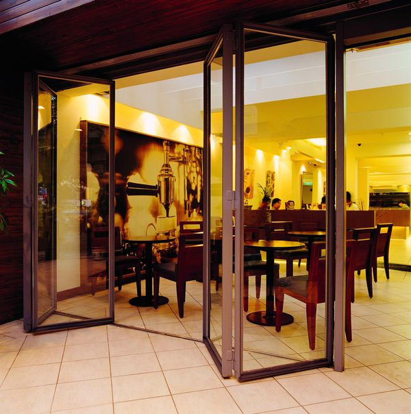 Restaurant folding aluminum frame interior glass doors