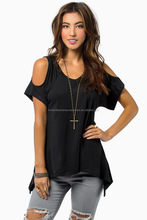 Peacock Tail Plain Asymmetric Hem Loose Women T Shirt