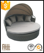 Fashionable design outdoor rattan wicker round sun lounger with adjustable canopy AWRF9920A