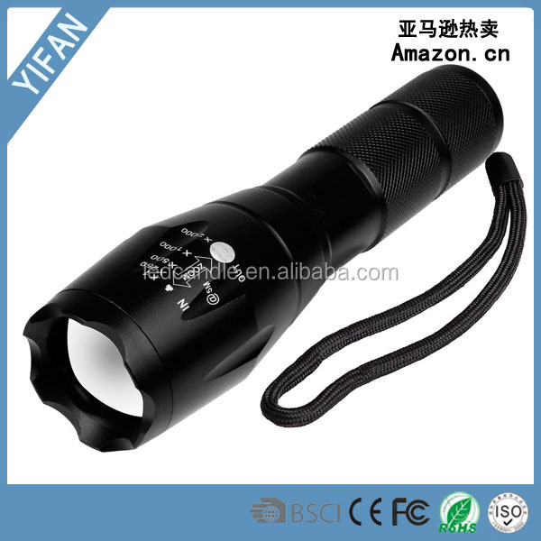 Wholesale waterproof 3AAA Or 18650 battery T6 aluminum alloy tactical led flashlight
