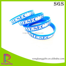 debossed custom AIESEC promotion gifts color filled silicone bracelet