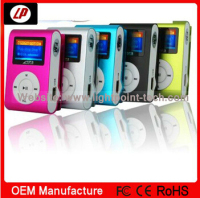 2014 latest products ! FM radio support driver digital mini clip mp3 player manual with TF card slot and LCD screen