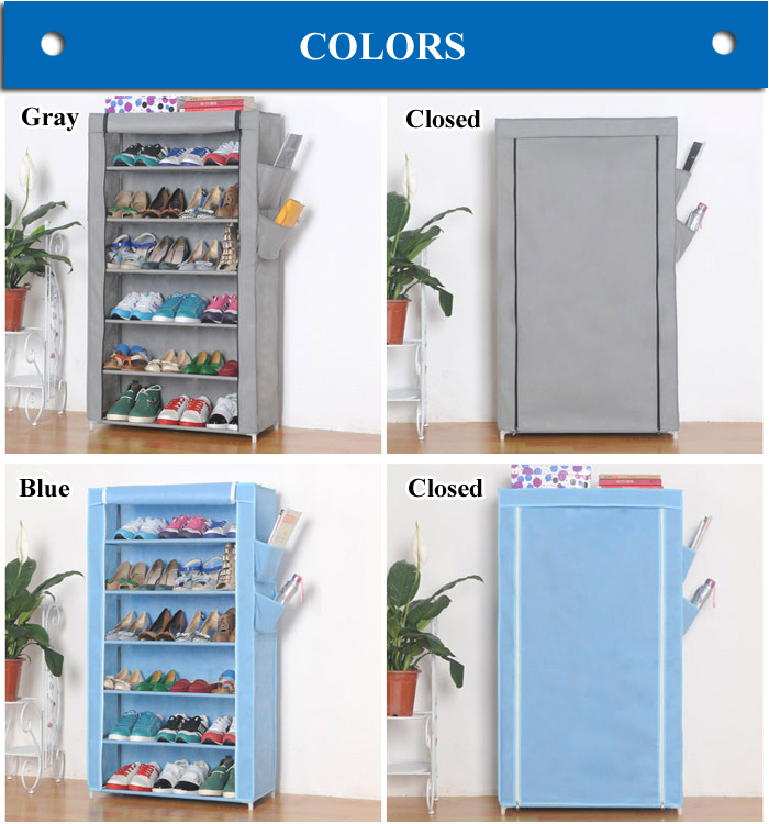 6 layers with side pocket non-woven fabric shoe rack with cover X-107