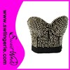 Hot sell Silver shiny Rivet Spiked strapless women bra with cup A/B/C/D