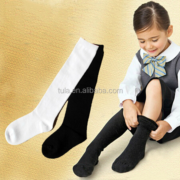 wholesale pure colour knee high socks for kids to school