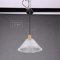 Manufacturer's Premium Crystal Modern Pendant Lamp Ribbed Clear Glass Hanging Lamp
