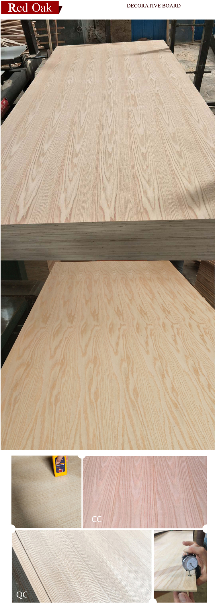 Factory price red oak fancy veneer plywood faced mdf for middle east market