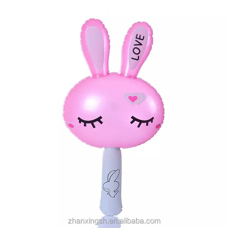 Promotional giant plastic rabbit inflatable air hammer toy with sound effect