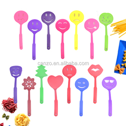 Different Colorful Cute Smile Face Shape Nylon Plastic Kitchen Utensil Sets