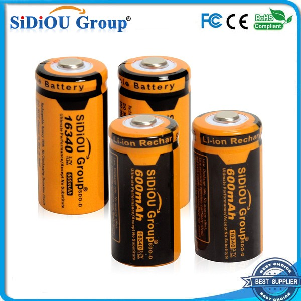 Sidiou Group Powerful 16340 Lithium Ion Battery 3.7V 600mAh Rechargeable Battery for LED flashlight (A Set of 4 Pieces)