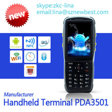 Touch screen WI-FI 3G Bluetooth Android qr code handheld pda with NFC reader