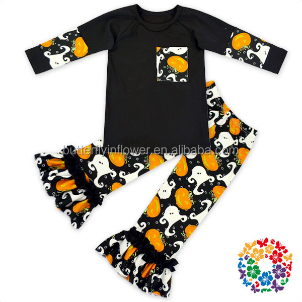 2016 Fashion Popular Newest Design Girls Fall Boutique Clothing Halloween Outfits For Kids Girls Boutique