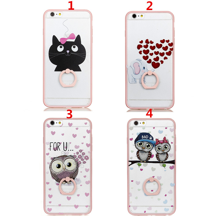 Transparent PC Plate Pink Silicone Bumper Mobile Phone Case for iPhone8 , for iPhone 7 Animal Plastic Case