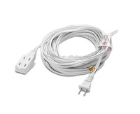 Aurum Cables 25 Feet 3 Outlet Extension Cord 16AWG Indoor/Outdoor Use - 2 Pack White - With Extension Cord Holder - UL Listed