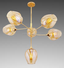 Amber glass lamp shade and golden color lamp body ceiling lamp