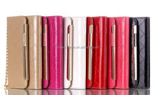2014 Fashion Flip Leather Case For iPhone6 Card Slots Wallet cell phone bags with diamond and Chine for iphone6 cases
