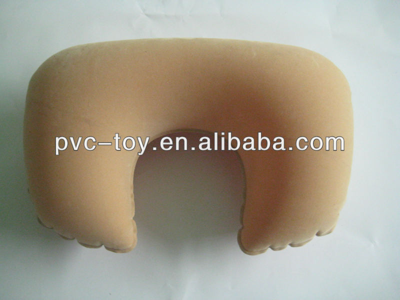 wormlike PVC flocking inflatable neck pillow for promotion
