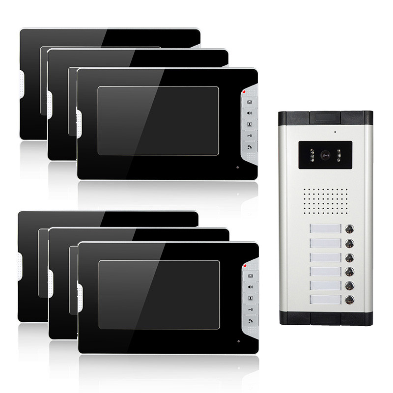 Multi Apartment building 7'inch color Video intercom system ( Direct button outdoor unit for 6 apartments )