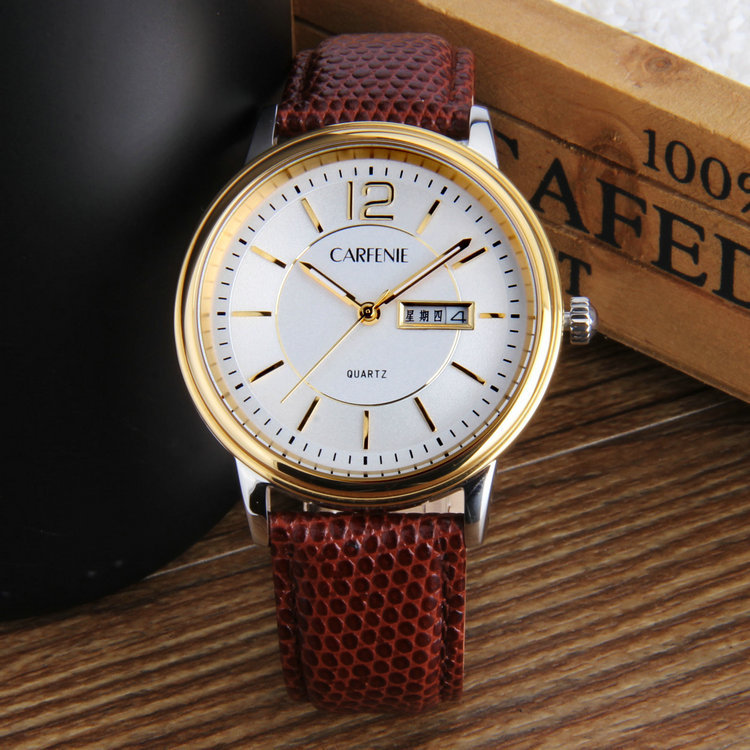 Custom fashion vogue watches man with genuine leather strap