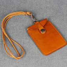 Vegetable tannage credit card holder case with detachable lanyard card holder