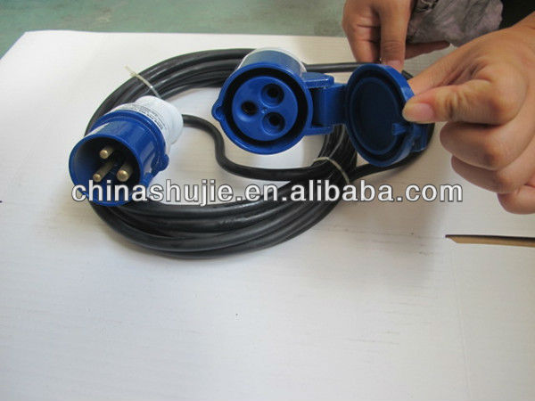 Low price blue or red or black rubber Industrial extension cord manufacture 2P+E