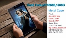 Quad Core MTK6582 1G RAM 8G ROM android 3g tablet pc 7 inch phablet