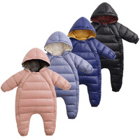 Wholesale winter baby kids down padded jacket cheap double zipper hooded outwear snowsuit