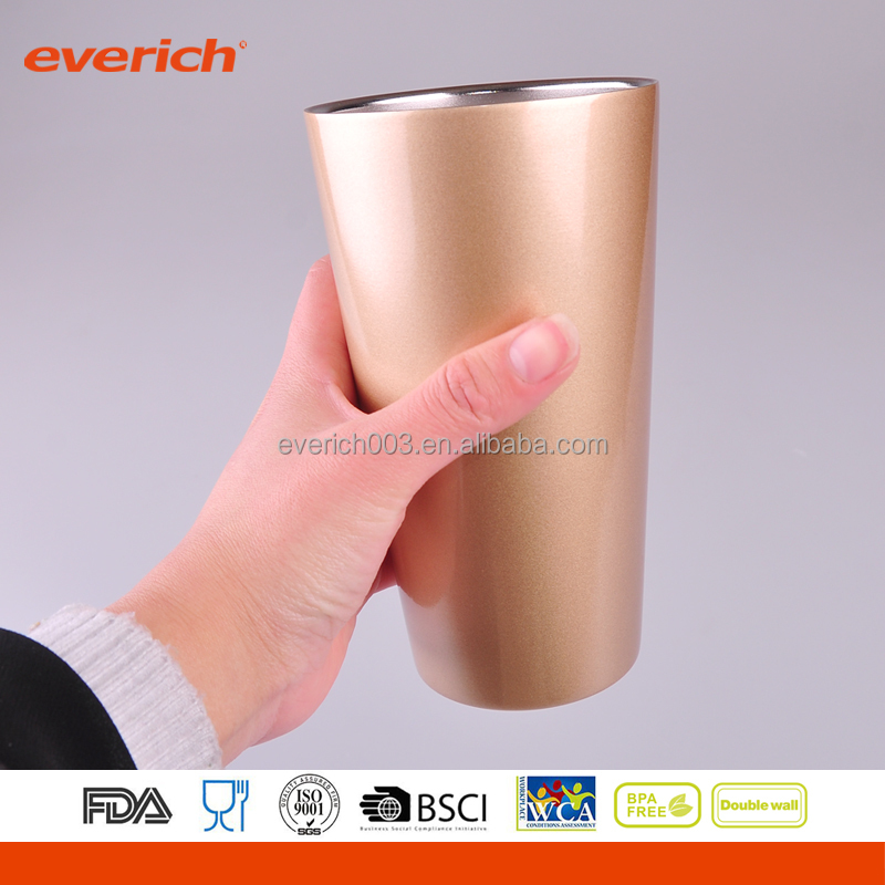 Insulated Double Wall Vacuum Stainless Steel Rose Golden Tumbler 16 oz