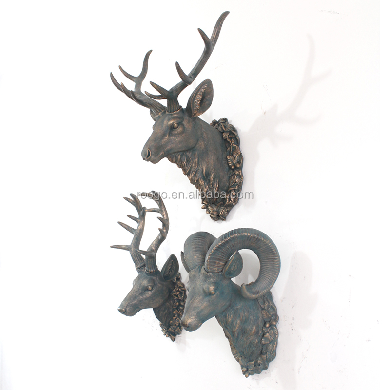 2015 hot sell resin Africa animal head wall decor animal wall hanging