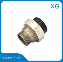 PE pipe fittings brass socket union/Plastic PE brass adaptor/HDPE plug socket for water supply