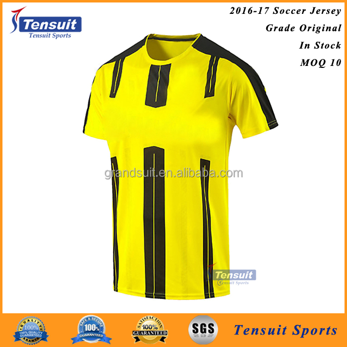sports clothing for wholesale cheap soccer jersey black and yellow football shirt sublimation dri fit soccer shirt
